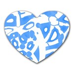Blue summer design Heart Mousepads Front