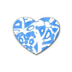 Blue Summer Design Heart Coaster (4 Pack)