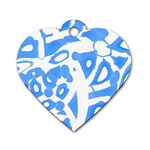 Blue summer design Dog Tag Heart (Two Sides) Front