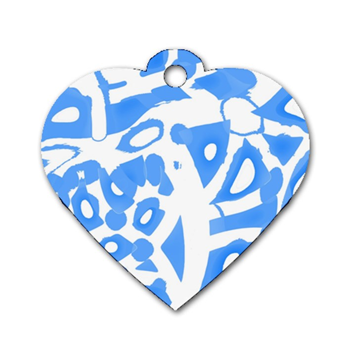 Blue summer design Dog Tag Heart (Two Sides)