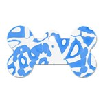 Blue summer design Dog Tag Bone (Two Sides) Front