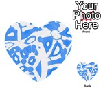 Blue summer design Multi-purpose Cards (Heart)  Front 49