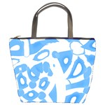 Blue summer design Bucket Bags Front