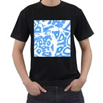 Blue summer design Men s T-Shirt (Black) Front