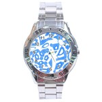 Blue summer design Stainless Steel Analogue Watch Front