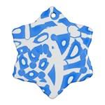 Blue summer design Snowflake Ornament (2-Side) Back