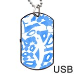 Blue summer design Dog Tag USB Flash (Two Sides)  Front