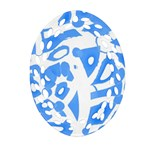 Blue summer design Oval Filigree Ornament (2-Side)  Front