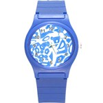 Blue summer design Round Plastic Sport Watch (S) Front