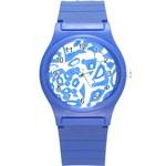 Blue summer design Round Plastic Sport Watch (S) Front