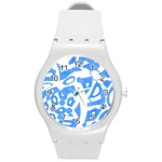 Blue summer design Round Plastic Sport Watch (M) Front