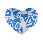 Blue summer design Standard 16  Premium Heart Shape Cushions Front