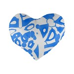 Blue summer design Standard 16  Premium Heart Shape Cushions Back
