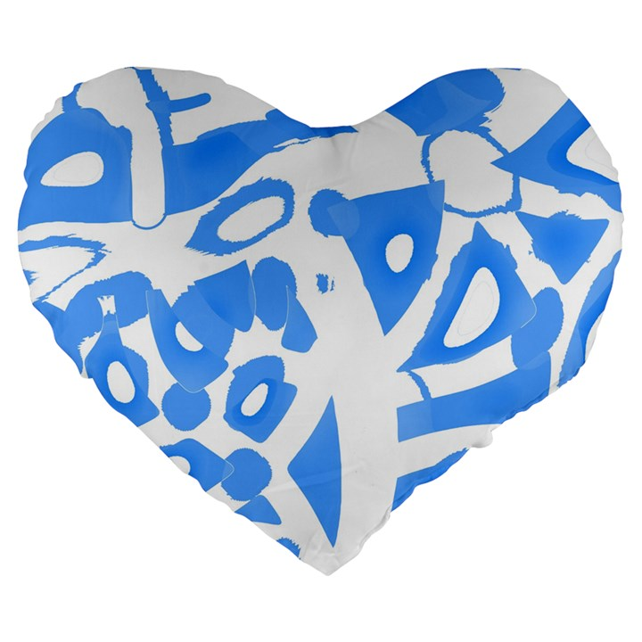 Blue summer design Large 19  Premium Heart Shape Cushions