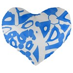 Blue summer design Large 19  Premium Heart Shape Cushions Back