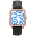 Blue summer design Rose Gold Leather Watch  Front