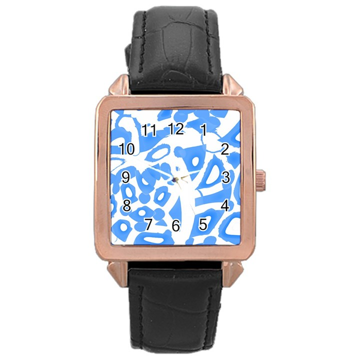 Blue summer design Rose Gold Leather Watch