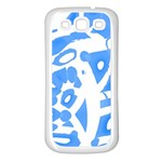 Blue summer design Samsung Galaxy S3 Back Case (White) Front