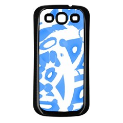Blue summer design Samsung Galaxy S3 Back Case (Black)