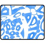 Blue summer design Double Sided Fleece Blanket (Medium)  60 x50 Blanket Back