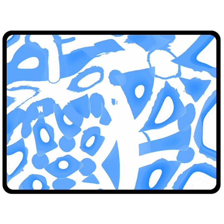Blue summer design Double Sided Fleece Blanket (Large)