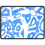 Blue summer design Double Sided Fleece Blanket (Large)  80 x60 Blanket Back