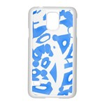 Blue summer design Samsung Galaxy S5 Case (White) Front