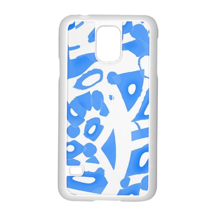 Blue summer design Samsung Galaxy S5 Case (White)
