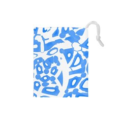 Blue Summer Design Drawstring Pouches (small)