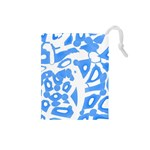 Blue summer design Drawstring Pouches (Small)  Front
