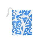 Blue summer design Drawstring Pouches (Small)  Back