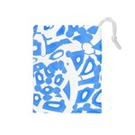 Blue summer design Drawstring Pouches (Medium)  Front