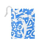 Blue summer design Drawstring Pouches (Medium)  Back