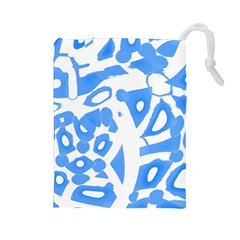 Blue Summer Design Drawstring Pouches (large)