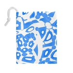 Blue summer design Drawstring Pouches (Large)  Back