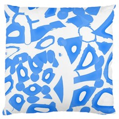 Blue Summer Design Large Flano Cushion Case (one Side)