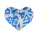 Blue summer design Standard 16  Premium Flano Heart Shape Cushions Front