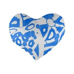 Blue summer design Standard 16  Premium Flano Heart Shape Cushions Back