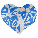 Blue summer design Large 19  Premium Flano Heart Shape Cushions Front