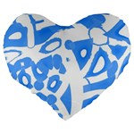 Blue summer design Large 19  Premium Flano Heart Shape Cushions Back