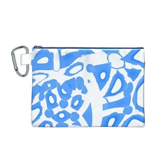 Blue summer design Canvas Cosmetic Bag (M)