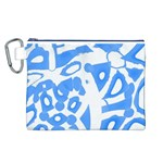 Blue summer design Canvas Cosmetic Bag (L) Front