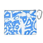 Blue summer design Canvas Cosmetic Bag (XL) Back