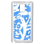 Blue summer design Samsung Galaxy Note 4 Case (White) Front