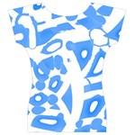 Blue summer design Women s V-Neck Cap Sleeve Top Back