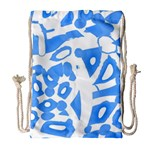 Blue summer design Drawstring Bag (Large) Front