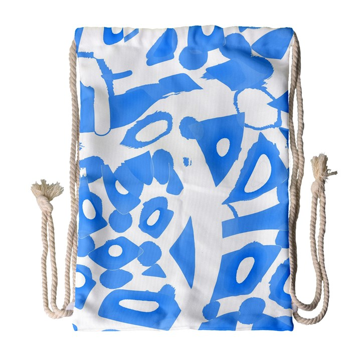 Blue summer design Drawstring Bag (Large)