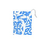 Blue summer design Drawstring Pouches (XS)  Front