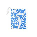 Blue summer design Drawstring Pouches (XS)  Back