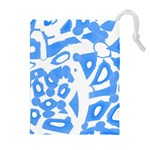 Blue summer design Drawstring Pouches (Extra Large) Front